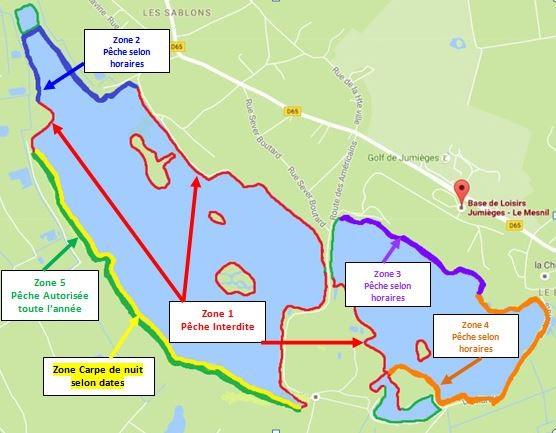 Plan des zones de peches